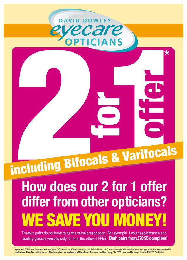 2 for 1 Offer Including Bifocals & Varifocals