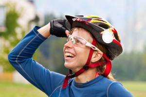 Cyclist wearing specialist glasses